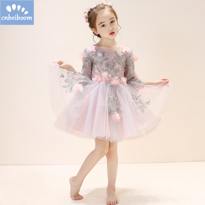 Flower Girl dress Bead Tulle first dresses for Children Long Sleeve Luxury Ball Gown Pink Dress for Weddings / Birthday Cothes luxury fluffy flower girl dresses for weddings 3d floral appliques long sleeve girl s birthday dress gorgeous pageant gown
