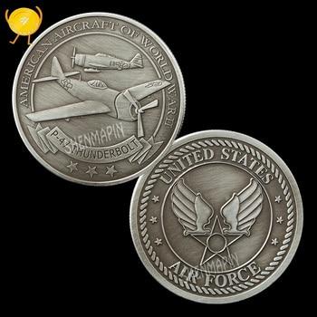 La Fuerza Aérea P-47 luchador Thunderbolt moneda conmemorativa de la II Guerra Mundial más grande del motor luchador Honor colección de monedas