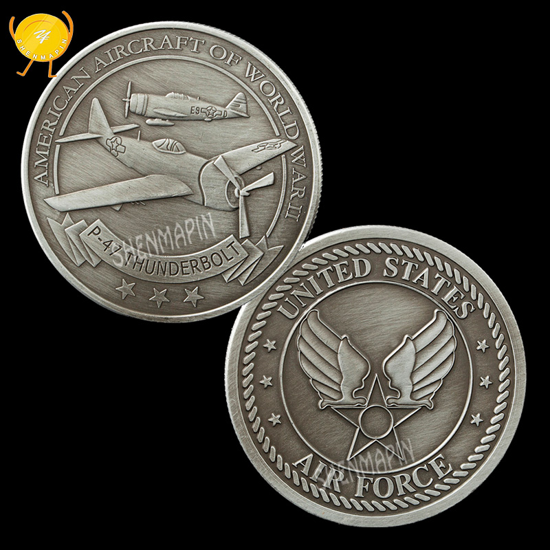 US Air Force P-47 Fighter Thunderbolt Commemorative Coin World War II Largest Single-engine Fighter Honor Coins Collectibles