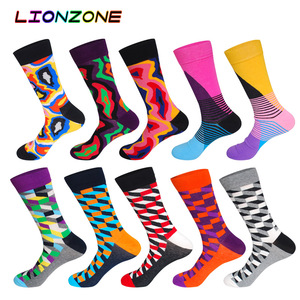 Image 4 - 10 Pairs/Lot Men Socks Combed Cotton Brand  Famous Oil Painting Striped Totem Ling Plaid Funny Happy Dress Male Sock + Free Gift