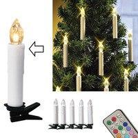 10 sztuk Christmas Tree Decoration Bezprzewodowe DOPROWADZIŁY Świece 12 Kolorów Pilot Na Baterie Światło dla Hallowmas Wesele