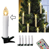 10pcs Christmas Tree Decoration Wireless LED Candles 12 Colors Remote Control Battery Operated Light for Hallowmas Party Wedding