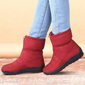 Image 2 - الشتاء أحذية حريمي برقبة منصة الإناث الثلوج حذاء من الجلد مقاوم للماء السيدات أفخم نعل الفراء بوتا الأنثوية 2020 أسود بوتين