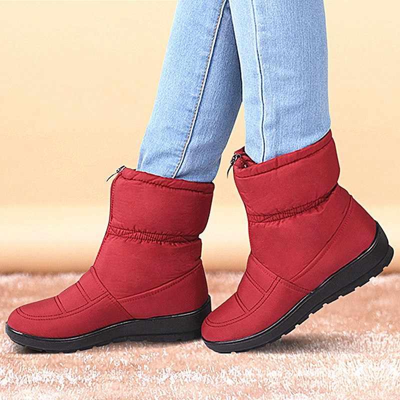Kış çizmeler kadın ayakkabıları platformu kadın kar yarım çizmeler su geçirmez bayanlar peluş astarı kürk Bota Feminina 2019 siyah Botine