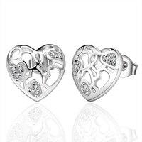 New Hot The Best quality Fashion Women Jewelry Heart Shape Silver Luxury Earrings Stud Unique Design Earrings Sweet Lady
