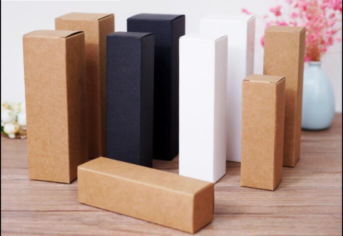 50pcs-10ml/20ml/30ml/50ml/100ml White Black Kraft Paper Box For Dropper Bottle Essential Oil Sprays Sample Valve Tubes Package