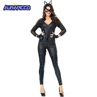 Sexy Black Cat Girl Costume Women Tight Black Jumpsuits Halloween Fancy Animal Bodysuit Party Sex Suit Outfit Carnival Clubwear