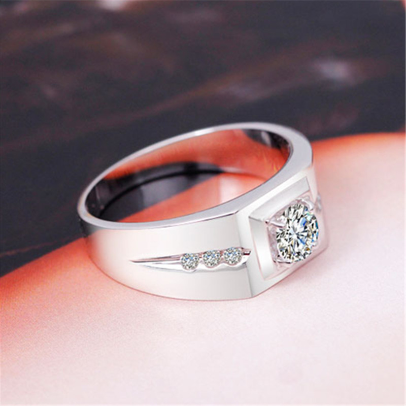 Real Sterling 925 Silver Jewelry Simple Rings For Men Luxury Fine Jewelry Bridegroom Wedding Engagement Ring Anillos Love-039
