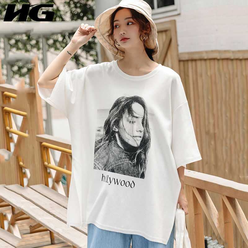 HG Summer Dress 2019 Fashion Tshirt Women Splite Short Sleeve Top Female Character Print Leisure Woman Oversized T Shirt WQR1125