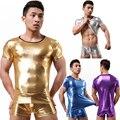 2016 nuevos calientes de cuero de imitación para hombre de látex Teddy body brillante Wetlook camiseta elástica de la ropa interior establece Gay ropa interior para hombre Boxer L037