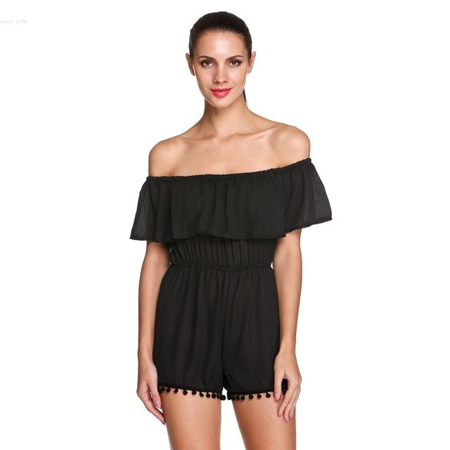 39a1ee7555ad 2016 Sexy Rompers Women Casual Off Shoulder Short Sleeve High Waist Chiffon  Jumpsuit Overall Beach Party Black White S-XL