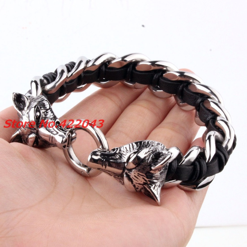 Heavy Mens Jewelry Stainless Steel Black Leather Wolf Heads Bracelet 316L Biker Heavy Jewelry Gifts Silver 16mm Bangles 8.66