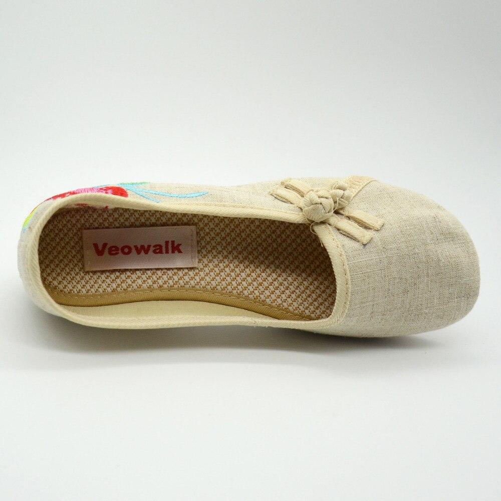 Sapato Zapatos Mujeres Vintage Floral Señoras Slip negro blanco Cómodos Suave Bordado Botones On Beige De Tela Ballets azul Flats Algodón rojo Femenino gqz7wBZ