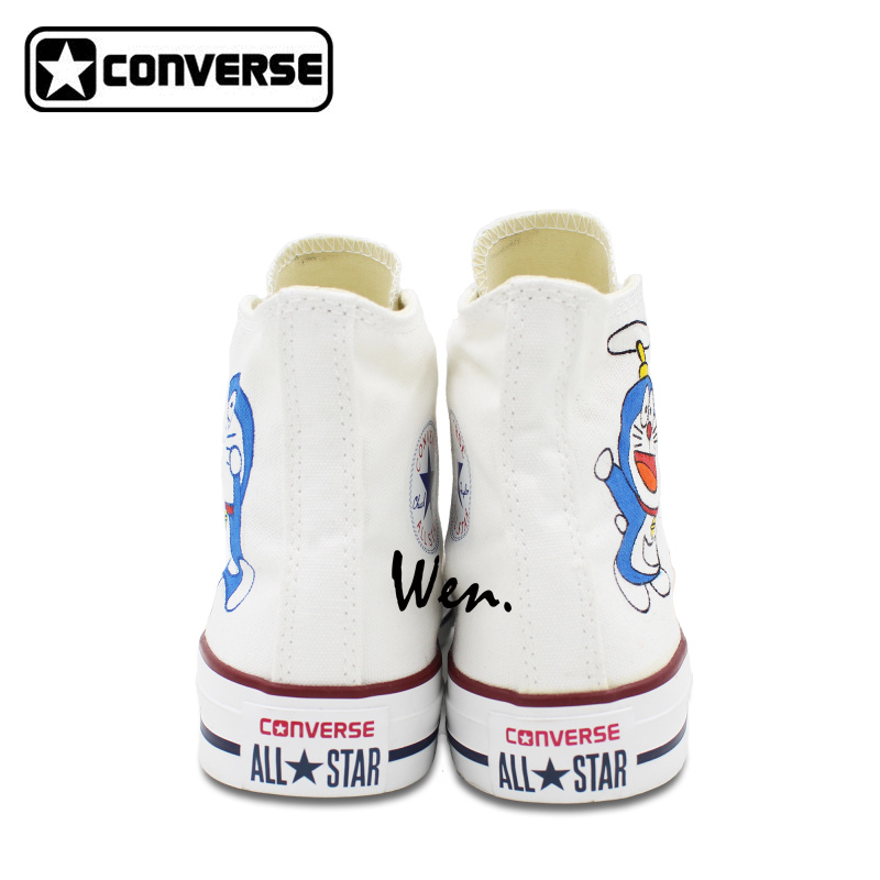 White Converse All Star Women Men Shoes Doraemon Design Hand Painted Boys Girls Sneakers Skateboarding Unique Gifts In From