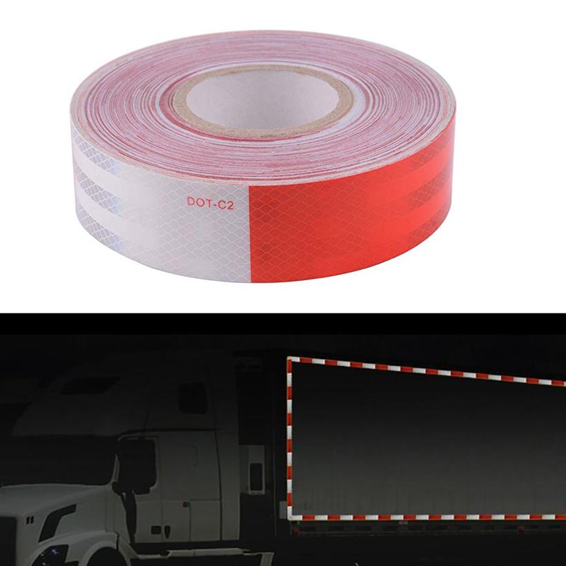 5cmX50m Red and White DOT C2 Conspiciuity Tape COMMERCIAL ROLL Auto Car Truck Trailer Boat