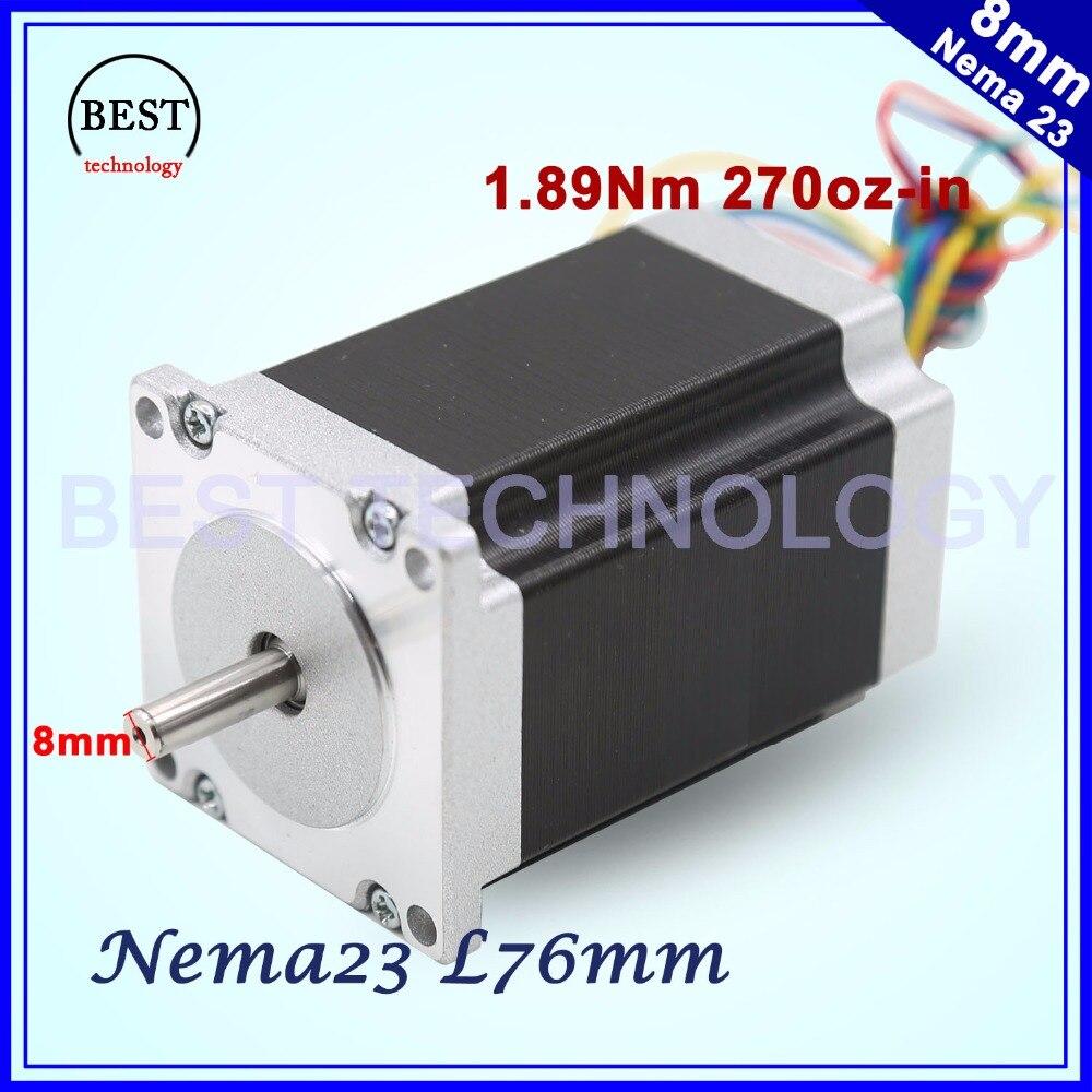 NEMA23 cnc stepper motor 57 x76mm1.89N.m 4-Lead 1.8deg Nema 23 3A 270Oz-in D=8mm For CNC machine and 3D printer! high quality