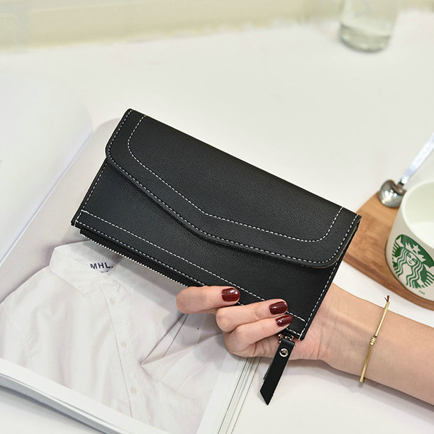 2016 Real PU Leather Women Wallets Brand Design High Quality Cell phone Card Holder Long Lady Wallet Purse Ultra-thin Burgundy new real genuine leather women wallets brand design high quality cell phone card holder cowhide long lady wallet purse clutch