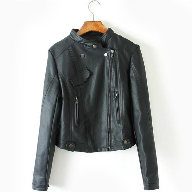 Женщины Черные Кожаные Байкерские Куртки PU Кожаные Куртки Мотоцикла 2017 Новый Slim Fit Женские Куртки Бесплатная Доставка