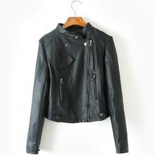 Women Black Biker Leather Jacket PU Leather Motorcycle Jackets 2016 New Slim Fit Female Jackets Free Shipping