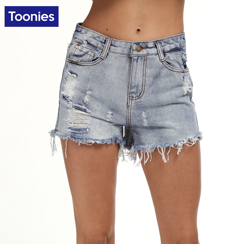 TOONIES Fashion Brand Denim Shorts Ripped Women Hole High Waist Casual Summer Short Jean Female Street Clothing Plus Size S-5XL
