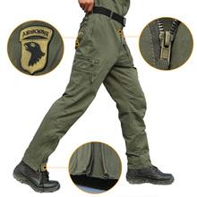 Taktyczne wojskowe spodnie bojowe męskie 101 unoszące się w powietrzu bawełniane wielo kieszeni spodni armii męskie Cargo spodnie miękkie wojskowy odzież robocza tanie tanio Pełnej długości Mężczyźni Cargo pants Na co dzień REGULAR COTTON Midweight Mieszkanie Suknem Zipper fly Military Green