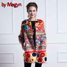 2016 Women Autumn Winter Fuzzy Ball Diamonds Beading Baroque Printed Embroidery Coat Trench  Dashiki Trench