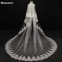 2019 velos de novia 3 Meters 2T White&Ivory Sequins Blings Sparkling Lace Edge Purfle Long Cathedral Wedding Veils V1100 - DISCOUNT ITEM  40% OFF All Category