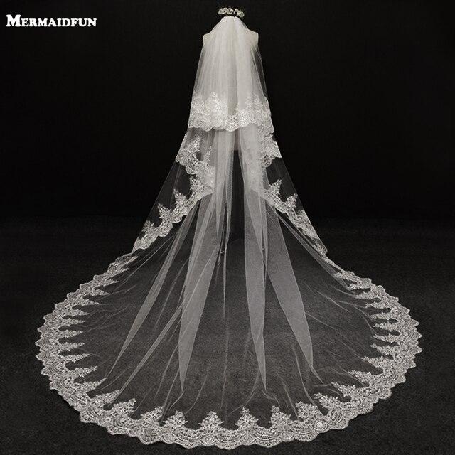 9ef12bdce8 2019 velos de novia 3 metros 2 T blanco y marfil lentejuelas Blings de  espumosos borde