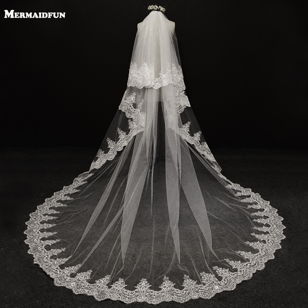 Velos De Novia 3 Meters 2T White&Ivory Sequins Blings Sparkling Lace Edge Purfle Long Cathedral Wedding Veils V1100