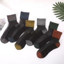 New Korean version of cotton bottom gold and silver silk socks female tube onion crystal glass wire