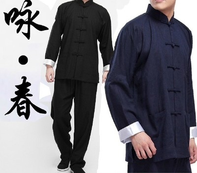 High Quality Bruce Lee Vintage Chinese wing chun Kung Fu Uniform Martial Arts Tai Chi Suits 2Colors Size M-XXXL Free shipping