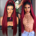 8А класс Staight full lace красный парик фронта шнурка Ombre волос парики природный хеалаин детские волосы бесклеевого ломбер кружева парики
