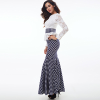 Polka Dots Lace Floral Autumn Vintage Women Trumpet Dress Long Sleeve Floor Length Falbala Mermaid Lady Elegant Long Dresses