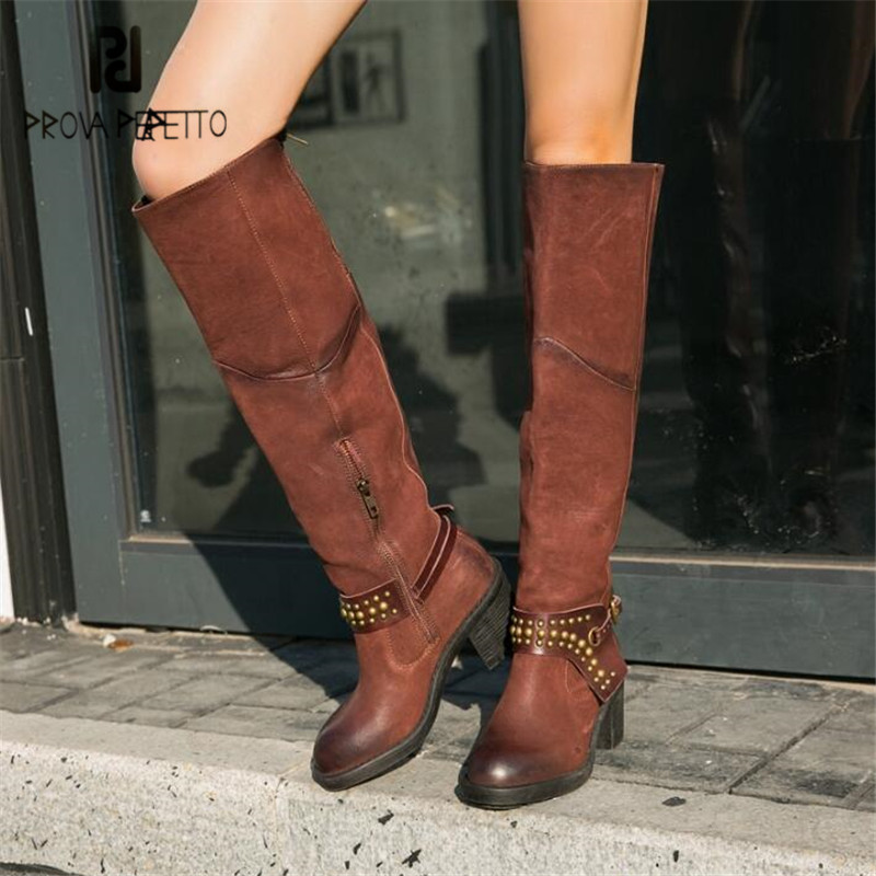 Prova Perfetto Handmade Rivets Studded Women Knee High Boots Ladies Chunky High Heel Martin Boots Female Long Botas Mujer prova perfetto hollow out ladies gladiator sandals women platform pumps rivets chunky high heel shoes woman sandalias mujer