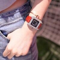 Полный алмазов Для женщин часы кожаный ремешок квадратный Повседневное часы Для женщин со стразами звездное небо циферблат часов Водонепр