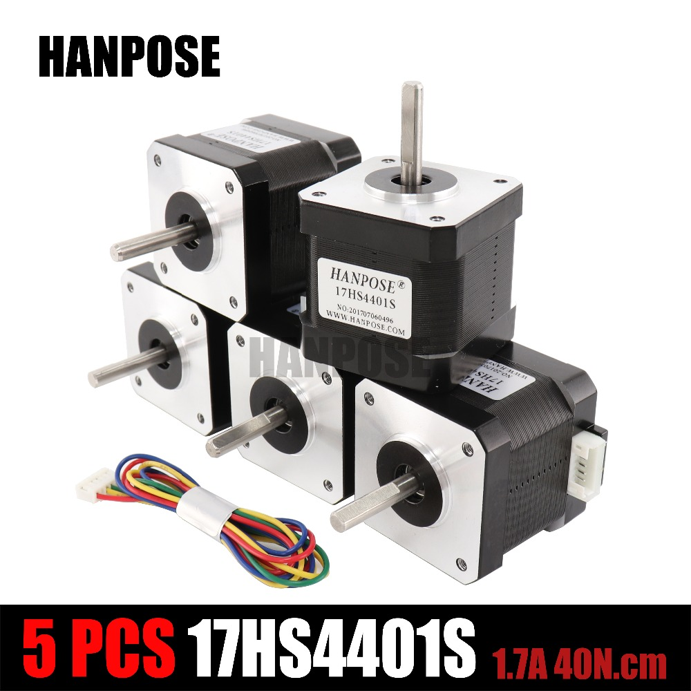 Free shipping Best match 3D printer Motor 5Pcs 4 lead Nema17 Stepper Motor 42 motor Nema