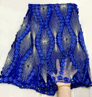 Latest French Laces 2018 African royal blue Lace Fabrics High Quality African 3d Lace Fabric Fashion Nigerian Party Dress