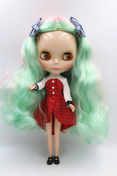 Blygirl Doll Colorful mixed hair doll, wave curls, fashion Blyth ordinary body 30cm 7 joints Style one