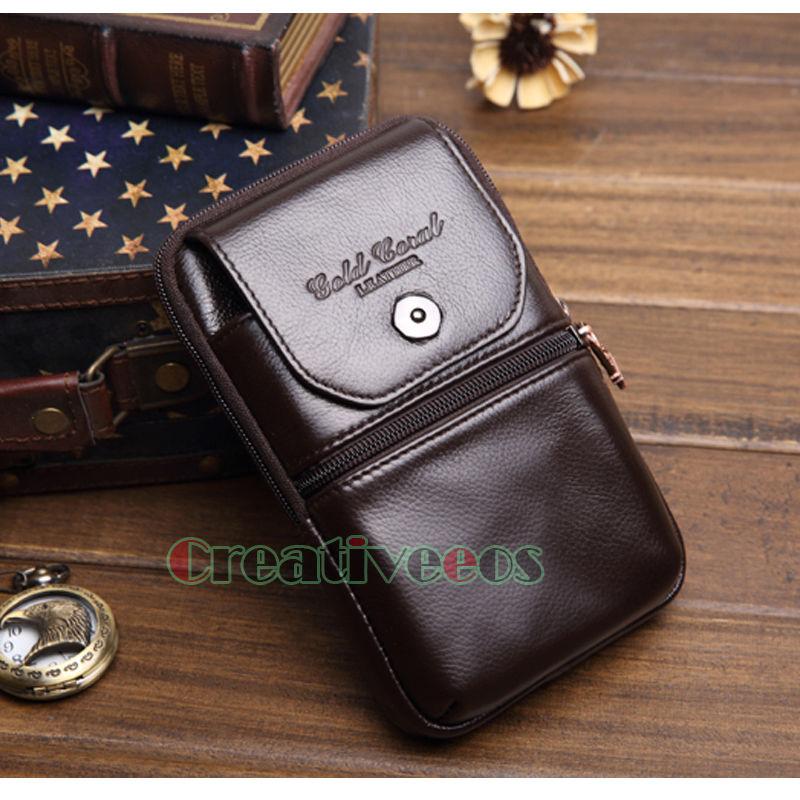 Mäns äkta läderhuvud Vintage Travel Cell / Mobiltelefonväska - Bälten väskor - Foto 3