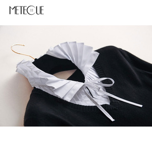 Image 5 - קפלים בסגנון בריטי עם תחרה עד צווארון דוכן אופנה נשים חולצת צווארון מזויף להסרה צווארון שקר לבנה ושחורה 2018