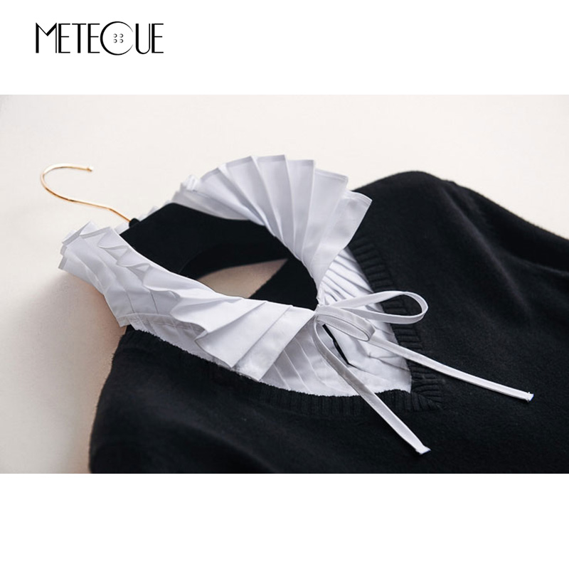 Image 5 - British Style Pleated With Lace Up Fake Collar Shirt Women Fashion Stand Detachable Collar White And Black False Collar 2018