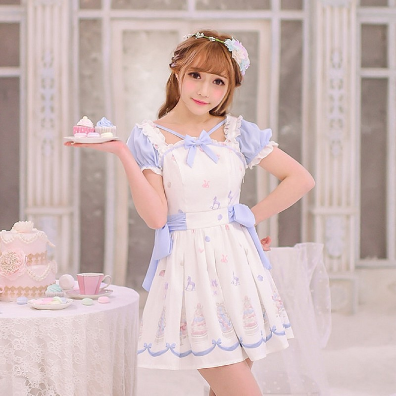 Princess sweet lolita dress Candy rain exclusive design summer girl cake printing butterfly Chiffon Dress C16AB6062