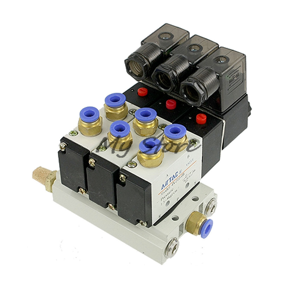 4V210-08 Pneumatic DC12V DC24V AC110 AC220 5 Way Triple Solenoid Valve w Base Push In Connectors Silencer free shipping 10sets lot pneumatic ac 220v quadruple solenoid valve w base push in connectors silencers 5 stations