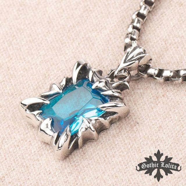 wholesale Fashion Punk squire blue Zircon crystal  Gothic dragon claw Men and women Stainless steel Pendant necklace