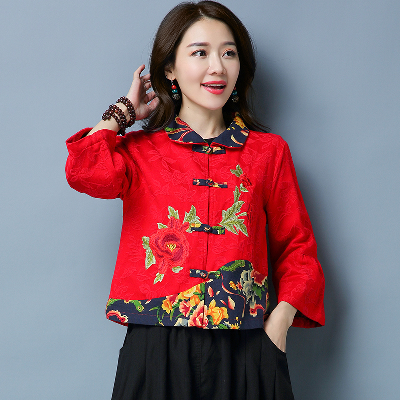 2017 New Women's Clothing Embroidery Chinese Style Short Coat Ethnic Style Jacket Peter Pan Collar Vintage Red Coats