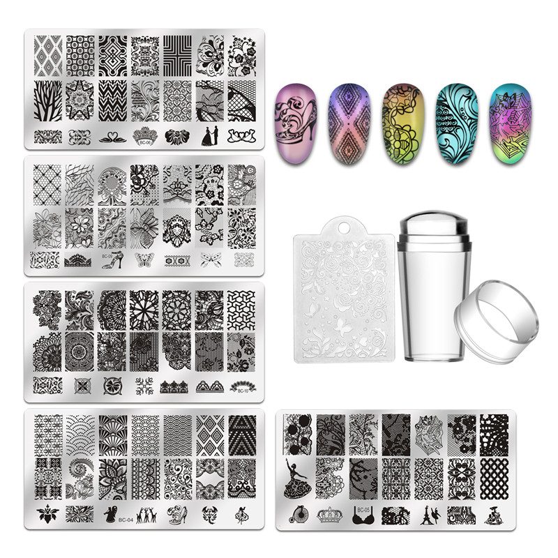 Biutee 5Pcs Nail Stamping Plates + 1 Stamper + 1 Scraper Lace Flower Animal Pattern Nail Art Stamp Stamping Template Image Plate nail stamping plates nail art stamp template image plate nails diy tool acrylic stamp wedding theme set 01 04