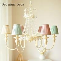 Europeu luz e luxo colorido lustre de cristal sala estar quarto das crianças antigo decoração lustre