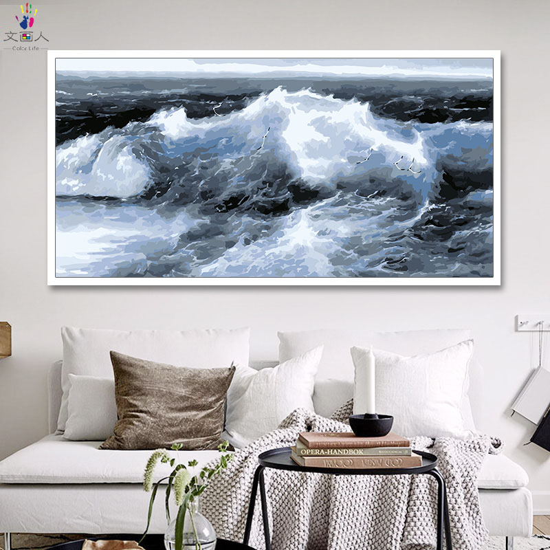 DIY Coloring By Numbers Large size Seascape Stormy Waves pictures paintings drawing By Numbers with kits for wall decor