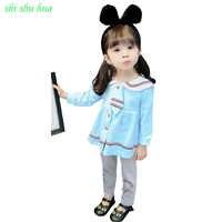 Vestiti delle ragazze Del Collare della Bambola a maniche lunghe Giacca Pantaloni Due Set Di Cotone Tie Decorazione 1-3 Y Bambino abbigliamento di qualità 2019 di Vendita Calda