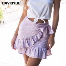 Summer high waist skirts womens vintage ruffle pink red polka dot pleated mini wrap skirt korean style women kwaii streetwear